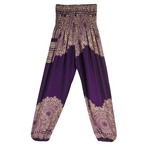 Quaan Damen Casual Hosen Thailand Indonesische Digitaldruck Lose Breite Beinhosen Yoga Hosen (M, Lila 2)