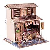 Fenteer DIY Puppenhaus Restaurant Holz Spielhaus Dollhaus Miniatur Modell Kinder Rollenspielzeug Jungen Mädchen Holzspielzeug - BBQ Restaurant