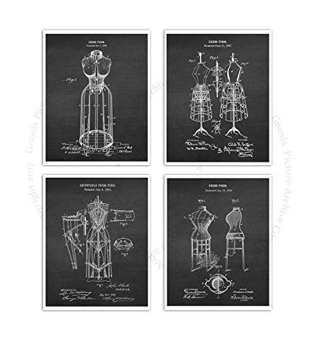 Kleid Größe Diagramm (Gnosis Picture Archive Fashion Art Decor Set von 4ungerahmt Kleid Form Patent Diagramm Art Prints dressform chk4a)