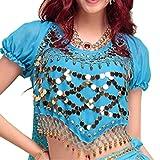 Best Dance Damen Bauchtanz Kostüme Laterne Bluse Top mit Pailletten Perlen Glocken