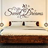 Wandtattoo Sweet Dreams | Süße schöne Träume Schlafzimmer Wandaufkleber Deko Grün 061 126 x 48 cm