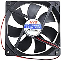 Jiamins Ventilador PC 120mm, refoidisseurs y radiadores, Ventilador PC 1225para Caja PC (12V, 2-Pins, 3000TR/MIN, 39dba, 97CFM)