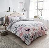 Online Faded Blumen grau Wende Bettbezug Set Quilt Betten Forever (Single, Double, King, Superking), grau, Single: 135cm x 200cm