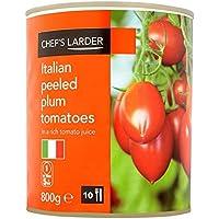 Despensa italianos peladas 800 g Tomates de ciruelo del Chef (peso escurrido 480 g) (Pack de 6 x 800g)