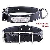 Hundehalsband mit Name Gravur Personalisierte Hunde Haustier Echtes Leder Halsband Haustiername und Telefonnummer Marke Schwarz