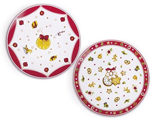 Excelsa Navidad Plato Panettone, Porcelana, ornamentos surtidos, 30x 30x 1.5cm