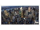 Exklusives Glasbild EG4100500403 NEW YORK ARCHITEKTUR FARBIG 100x50cm STÄDTE Motiv hinter 4mm Sicherheitsglas! INKL. AUFHÄNGESYSTEM (Haftbleche & Abstandhalter) / HANDMADE / WOHNZIMMER BÜRO / LIFESTYLE FERTIGBILD!