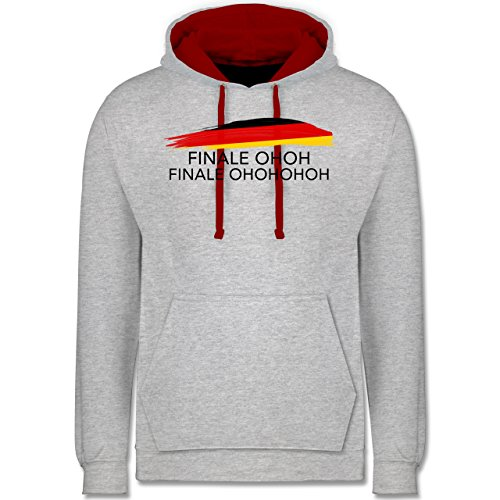 Fußball-WM 2018 - Russland - Deutschland Finale OHOH - Kontrast Hoodie Grau Meliert/Rot