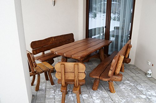 Rustikale Gartengarnitur aus Massivholz   Gartenmöbel aus Tannen- und Eichenholz   Sitzplätze: ca....