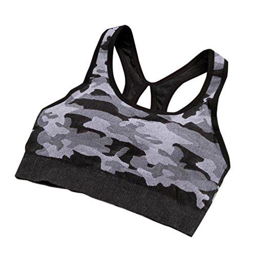 taottao Frauen Gym Camouflage Stretch Workout Tank Top nahtlos Fitness Yoga Sport BH gepolstert, schwarz (Bh Baumwolle Ausführung)