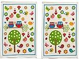 2'er Set Handtücher Eule Baumwolle Frottee Handtuch Gästehandtücher