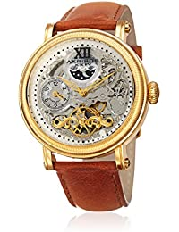 Akribos XXIV Men's Quartz Stainless Steel and Leather Casual Watch, Color Brown (Model: AK968YGTN)