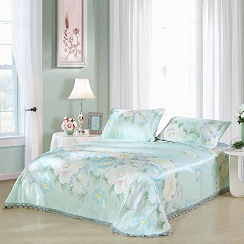 LTM mat Bamboo Heimtextil-Eis-Silk-Matten-Bett-Blatt Drei Sätze Mittsommer-Blau (Blau-bett-satz)