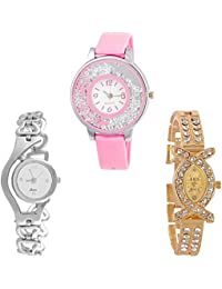 Krupa Enterprise Analogue Multi Color Dial Girl's Watch Pack Of 3