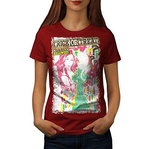 wellcoda Trick Oder Behandeln Halloween Frau T-Shirt Halloween Lässiges Design Bedrucktes T-Shirt (Trick Oder Halloween-party Behandeln)