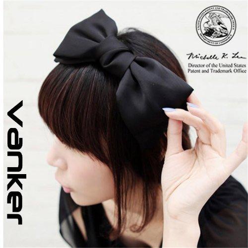 Modisch Süß Koreanisch Stil Große Schleife Stirnband Haarschmuck Schwarz -