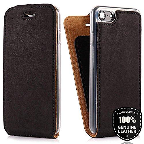 SURAZO Schwarz Flip - Vertikal Ledertasche Schutzhülle Flip Case Hülle aus Nubukleder und Veloursleder (Schwarz) für Apple iPhone 8 Plus