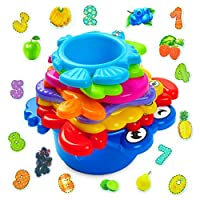 AGREATLIFE Baby Stacking Cups Bath Toys: My First Under The Sea Animal Stacker with Holes for Sprinkling Water and Sifting Sand - Includes Fun and Brightly Colored Numbers and Fruits Stickers