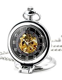 Infinite U Hueco Esqueleto Ángulo Recto Lupa Acero Reloj de bolsillo Movimiento Mecánico Plateado