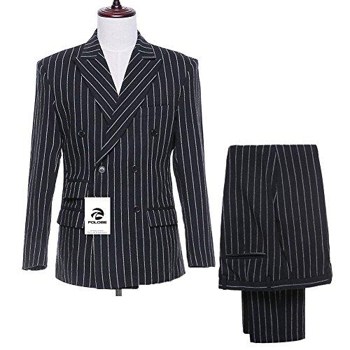 FOLOBE Herren einzigartiges Design schmaler gestreifter Anzug Tailored-Fit Retro Gentleman Style 3 St¨¹ck (Gestreifter Anzug Schwarz)