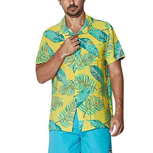 c06657ab21 MCYs Men s Beach Hawaiian Print Lapel Large Size Shirt Aloha Classic Button  Shirt Loose Comfort Tees