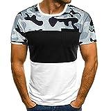 CHIYEEE T-Shirt a Maniche Corte da Uomo di Base Cime Estive Short Sleeve Shirt Cotone Bianco M