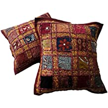 2pcs bordado lentejuelas Patchwork étnico indio sari Throw fundas de almohada fundas de cojín, algodón, rojo, 16 X 16 Inches