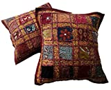 2pcs Embroidery Sequin Ethnic Patchwork Indian Sari Throw Pillow Cases Cushion Covers (Maroon)