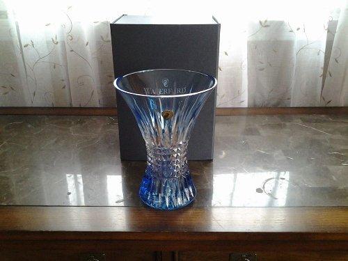 Waterford Crystal Lismore Diamond 8 Light Blue Vase by Waterford Waterford Lismore Diamond Vase