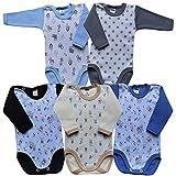 MEA BABY Unisex Baby Langarm Body aus 100% Baumwolle im 5er Pack, Baby Langarm Body mit Print, Baby Langarm Body mit Aufdruck, Baby Langarm Body für Mädchen, Baby Langarm Body für Jungen (86, Jungen)