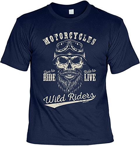 Biker Hemd - Motorcycles Wild Riders Live to Ride Ride to LIVE - Shirt für echte Kerle