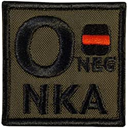 Olive Drab O NEG O- NKA Groupe Sanguin OD Green Embroidered Fastener Écusson Patch