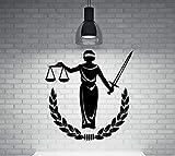 Diosa de la justicia griega vinilo etiqueta de la pared decoración para el hogar personalizada valentía diosa calcomanía 56X66Cm
