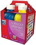 Lefranc & Bourgeois 807557 Glossy Kinder - Acrylfarbe, gebrauchsfertige flüssige Acrylfarbe, glänzend und wasserfest, Set aus vier Farben, 250 ml Tuben, blau, gelb, rot und weiß