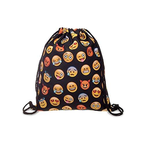 Coulisse borsa, Emoji WiFi motivo Sport Viaggio Zaino Scuola Palestra softback Harajuku Unisex, Black 2