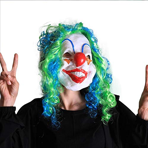 (KOBWA Halloween-Clown-Maske, lustige Clown-Maske mit bunten Haaren, Gruselige Clown-Maske, Halloween-Kostüm, Party-Maske, Cosplay-Requisite, Party, Halloween, Kostüm-Dekorationen, zufällige Farbe)