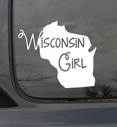 Wanddekoration Plus mehr wdpm3038State Girl Silhouette Wisconsin Auto-Aufkleber Vinyl, Weiß