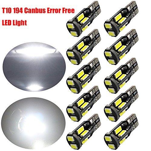 10-Pack T10 194 168 W5W 2825 Blanc 550Lums Canbus Sans Erreur 12V LED Light, 10-SMD 5730 Ampoule de Rechange de Voiture Pour Carte Dome Courtoisie Plaque Latérale de La Plaque D'immatriculation