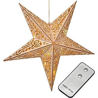Bambelaa! Estrella LED de madera con mando a distancia, 40 cm, estrella iluminada, Navidad, ventana, decoración de madera, funciona con pilas