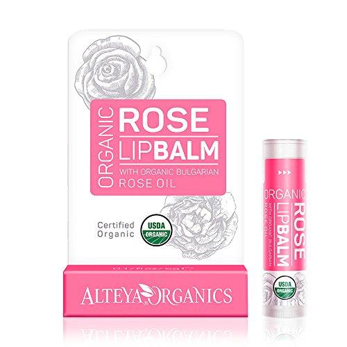Alteya Organic Balsamo Labbra con olio essenziale di Rosa Bulgara 5 g – USDA certificata...