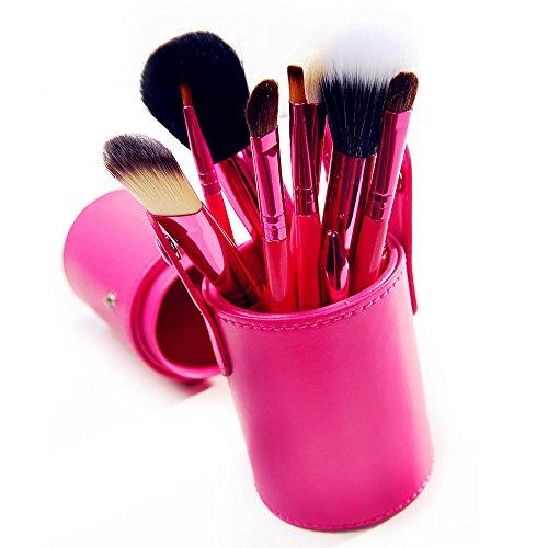 XUAN 12 PCs maquillage pinceau barillet installé pinceau poudre de fibre rose , pink