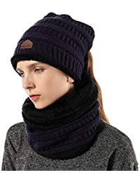FLY HAWK Cappello Sciarpa Anello in Maglia Invernali da Donna - Berretto  Beanie Sciarpa Loop Knit in Peluche Caldo per Bambina Cappello… 962d379a2de5