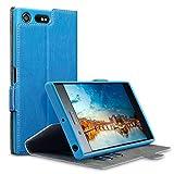 Xperia XZ Premium Case, Terrapin Leder Tasche Case Hülle im Bookstyle mit Standfunktion Kartenfächer für Sony Xperia XZ Premium Hülle Hellblau