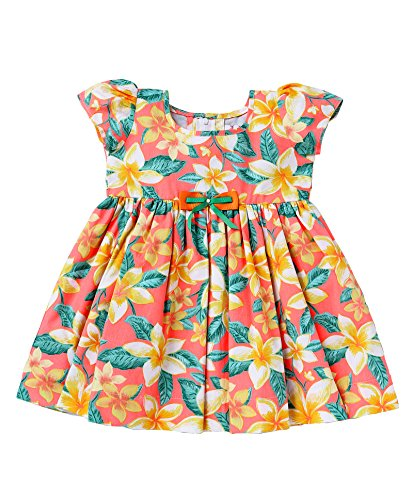 Mom's Girl,Girls Dresses orange floral Print Girls Frocks With Bow, Girls Frocks, Party wear dresses, New Born Dresses (6-12 Months)