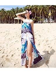 qxj Spinning sun-screening bufandas de seda con nieve toalla de playa extra larga Wild Bikini blusa traje Bufanda Marrón Velo, azul