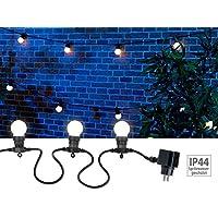 Lunartec Party Lichterkette Außen: Party-Lichterkette, 20 weißen LEDs (Glühbirnenform), 8 Watt, 9 m, IP44 (Lichterkette Außen Glühbirnen)