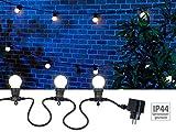Lunartec Lichterkette Glühbirne: Party-Lichterkette, 20 weißen LEDs (Glühbirnenform), 8 Watt, 9 m, IP44 (Lichterkette Außen Glühbirnen)