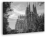 deyoli la Catedral Sagrada Familia en Barcelona Efecto: Negro/Blanco como Lienzo, diseño Enmarcado en Marco de Madera, impresión Digital Marco, no es un póster o Cartel, Lona, 60x40