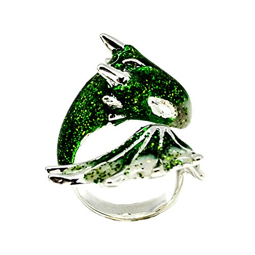 Emerald Spas (Silver Emerald Dragon Ring by MONVATOO London, eine freie Größe (einstellbares Band) Überzogen mit Rhodium Dragon Ring Schmuck mit funkelnden grünen Smaragd und schwarzem Emaille)