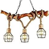 EGLONE Kronleuchter Holz Seil 3-Flammig Loft Lampe Retro Landhaus Pendelleuchte Esszimmerlampe Anhänger Seillampe Licht Vintage Pendellampe Industrie Rustikal Kaffee Esszimmer Esstisch